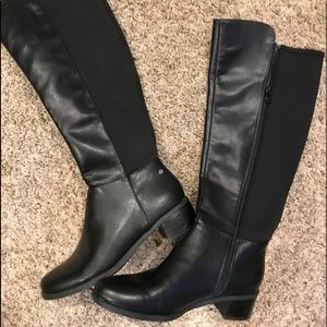 """Like New! Tall Black Boots with 2"""" Heels"""